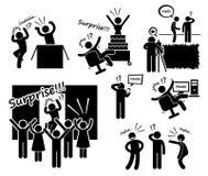 Ícones de Cliparts da surpresa e da partida ilustração do vetor