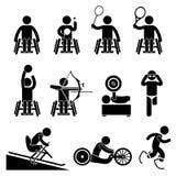 Ícones de Cliparts dos jogos de Paralympic do esporte da desvantagem da inutilização Fotografia de Stock Royalty Free