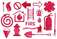 Ícones de combate ao fogo ajustados Sinais da aquarela no Foto de Stock Royalty Free
