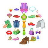 Ícones de compra ajustados, estilo das sapatas dos desenhos animados ilustração do vetor