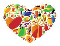 Ícones de compra das senhoras na forma do coração Fotografia de Stock
