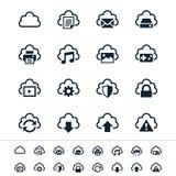 Ícones de computação da nuvem Fotografia de Stock Royalty Free
