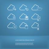 Ícones de computação do armazenamento da nuvem ajustados Foto de Stock Royalty Free