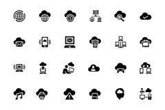Ícones de computação 3 do vetor da nuvem Foto de Stock Royalty Free