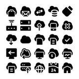 Ícones de computação 5 do vetor da nuvem Imagens de Stock