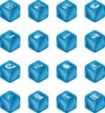 Ícones de computação S do cubo da rede Fotos de Stock Royalty Free