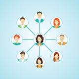 Ícones de conexão dos povos ajustados isolados Imagem de Stock Royalty Free