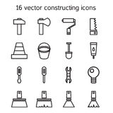 Ícones de construção e de construção ajustados Fotos de Stock