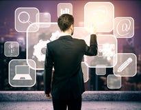 Ícones de controlo do negócio do homem de negócios Fotos de Stock