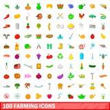 100 ícones de cultivo ajustados, estilo dos desenhos animados Imagens de Stock