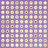 100 ícones de cultivo ajustados no estilo dos desenhos animados Fotos de Stock Royalty Free