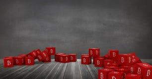ícones de 3D Bitcoin no assoalho na sala Fotografia de Stock Royalty Free