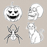 Ícones de Dia das Bruxas ajustados: abóbora, crânio, aranha, gato Imagens de Stock Royalty Free