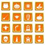 Ícones de Dia das Bruxas ajustados alaranjados ilustração do vetor