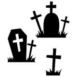 Ícones de Dia das Bruxas/sepultura Foto de Stock Royalty Free