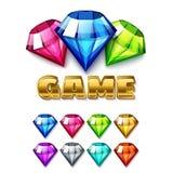 Ícones de Diamond Shaped Gem dos desenhos animados ajustados ilustração do vetor