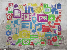 Ícones de Digitas e símbolos em linha Foto de Stock Royalty Free