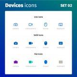 Ícones de dispositivos e da eletrônica modernos ilustração royalty free