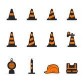 Ícones de Duotone - sinal de aviso do tráfego Fotografia de Stock