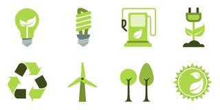 Ícones de Eco ajustados Foto de Stock Royalty Free