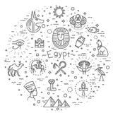 Ícones de Egito e elementos do projeto isolados ilustração stock