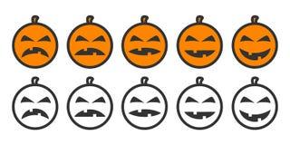 Ícones de Emoji da abóbora de Dia das Bruxas Imagem de Stock Royalty Free