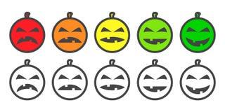 Ícones de Emoji da cor da abóbora de Dia das Bruxas Fotografia de Stock Royalty Free