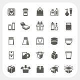 Ícones de empacotamento ajustados ilustração stock