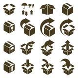 Ícones de empacotamento das caixas isolados no grupo branco do vetor do fundo, p Fotos de Stock