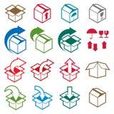 Ícones de empacotamento das caixas isolados no grupo branco do vetor do fundo, p Fotos de Stock Royalty Free