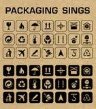 Ícones de empacotamento do vetor ajustados Foto de Stock Royalty Free