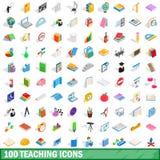 100 ícones de ensino ajustados, estilo 3d isométrico ilustração stock