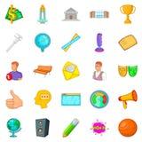 Ícones de ensino ajustados, estilo dos desenhos animados Fotos de Stock