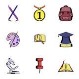 Ícones de ensino ajustados, estilo dos desenhos animados Imagens de Stock Royalty Free