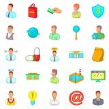 Ícones de ensino ajustados, estilo dos desenhos animados Fotografia de Stock Royalty Free