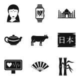 Ícones de ensino ajustados, estilo simples do asiático ilustração do vetor