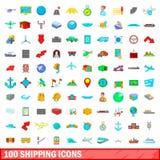100 ícones de envio ajustados, estilo dos desenhos animados Fotos de Stock