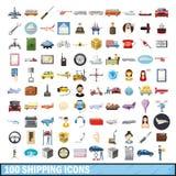 100 ícones de envio ajustados, estilo dos desenhos animados Foto de Stock