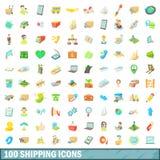 100 ícones de envio ajustados, estilo dos desenhos animados Imagens de Stock
