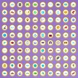 100 ícones de envio ajustados no estilo dos desenhos animados Foto de Stock Royalty Free