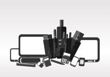 Ícones de equipamentos estacionários e eletrônicos Imagens de Stock Royalty Free