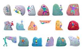 ?cones de escalada grupo do esporte, estilo dos desenhos animados ilustração do vetor