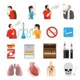 Ícones de fumo dos riscos dos produtos ajustados ilustração stock