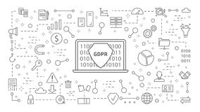 Ícones de GDPR ajustados ilustração royalty free