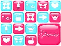 Ícones de Girly Fotografia de Stock