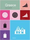 Ícones de Grécia Fotos de Stock Royalty Free