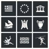 Ícones de Grécia Ilustração do vetor Fotografia de Stock Royalty Free