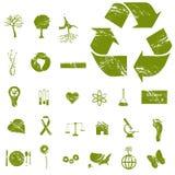 Ícones de Grunge Eco Fotos de Stock