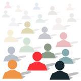 Ícones de grupo dos povos de cores diferentes na perspectiva Fotografia de Stock