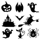 Ícones de Haloween ajustados no preto ilustração do vetor